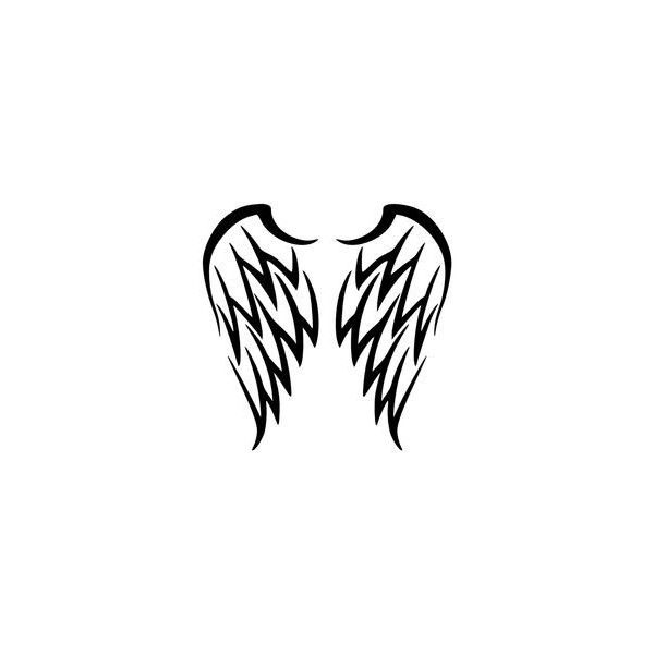 tribal angel wings tattoo by katerlin ❤ liked on Polyvore featuring accessories and body art