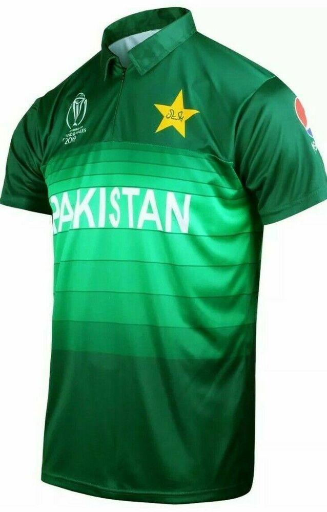 World Cup 2019 Pakistan Cricket Team Shirt Top Kit Jersey Uk Boys Men S Aj Personalisedtee Cricket Pakistan Cricket Team Cricket Teams Team Shirts