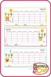 tabela de horario escolar - para imprimir