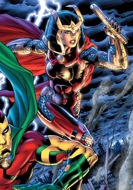 Bred for battle on the hellish world Apokolips, Big Barda became one of her world's greatest warriors and served as the leader of it's ruler's, Darkseid, personal guard: the Female Furies. Eventually Barda found love and fled Apokolips with her future husband Mr. Miracle. Barda has since lived on Earth at various points in time and has served as member of the Justice League.