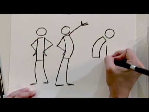 Use stick figures to learn drawing dynamic action in preparation for making mangas