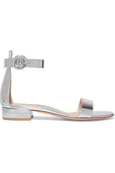 Gianvito Rossi - Portofino Metallic Leather Sandals - Silver - IT36.5