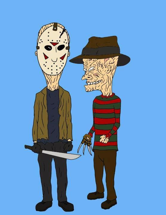 HORROR ART – BEAVIS & BUTTHEAD AS JASON & FREDDY... JUST WHEN I THOUGHT IT COULDN'T GET SCARIER...