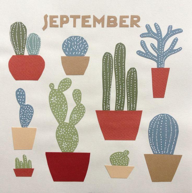 Calendar picture, September. Paper cut.