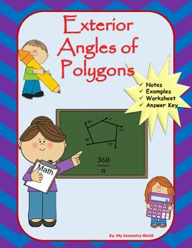 You will receive a worksheet as well as fill in the blank notes with the purchase of this resource.  Students will practice the necessary skills of exterior angles of polygons to be successful in Geometry and to continue student success and growth.