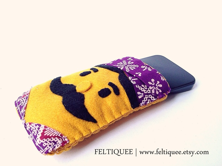 Mr. Mustache for your smartphone | www.feltiquee.etsy.com