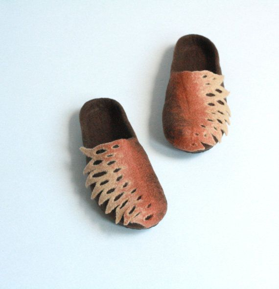 Women  felted wool slippers - brown and beige slippers - women house shoes - Christmas gift