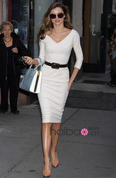 Free Shipping Celeb Miranda Kerr Sexy V-Neck Pencil Dress White Plus Size Ladies' Evening Party Dresses
