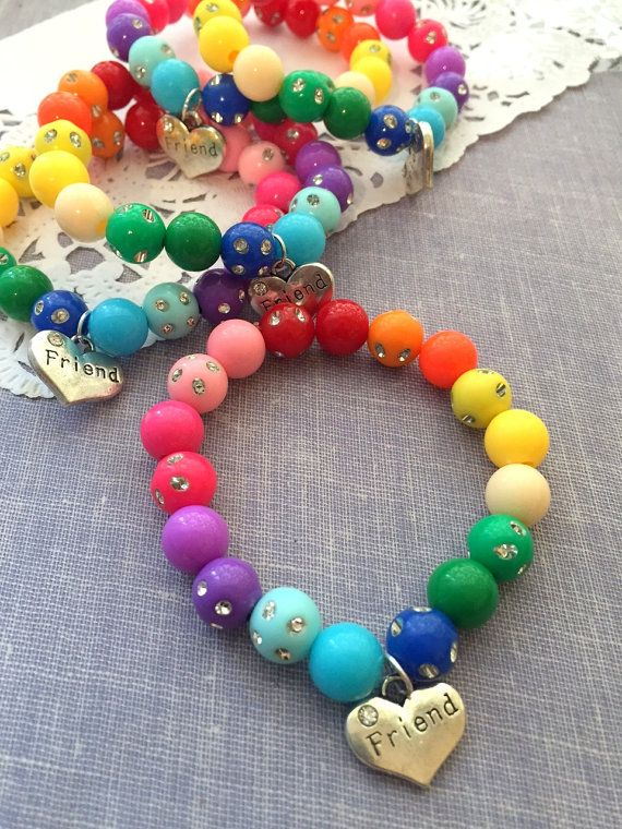 Trolls inspired, rainbow party favor, friend bracelet, friendship jewelry, beaded, children, bracelet, jewelry. SET of TEN.