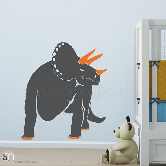 Triceratop Dino wall decals.  This part of the Dinosaur world creature will make sure to stand out in any room. Great for a nursery, or kids room. Made out of high quality removable vinyl that is easy to install and looks as if its painted on. Decorating made easy by adding wall decals or murals to walls, ceilings, furniture, windows, doors, etc., you instantly create an intriguing and unique look in any home.  Size: 28 x 33   GET THE WHOLE DINOSAUR WORLD http://etsy.me/Hy4mcm   ABOUT OUR…