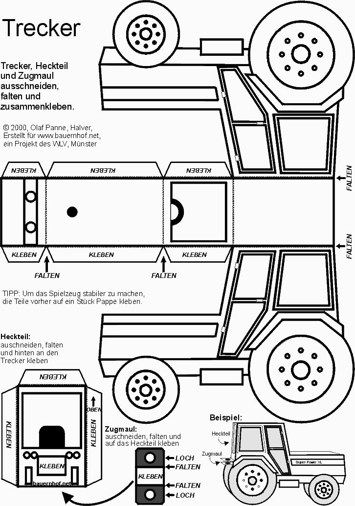 Traktor basteln tractor template templates printables for Tractor template to print