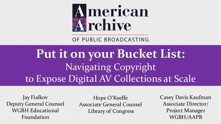 Presentation given at the 2017 Association of Moving Image Archivists (AMIA) conference in New Orleans. Panelists included Jay Fialkov, Deputy General Counsel …