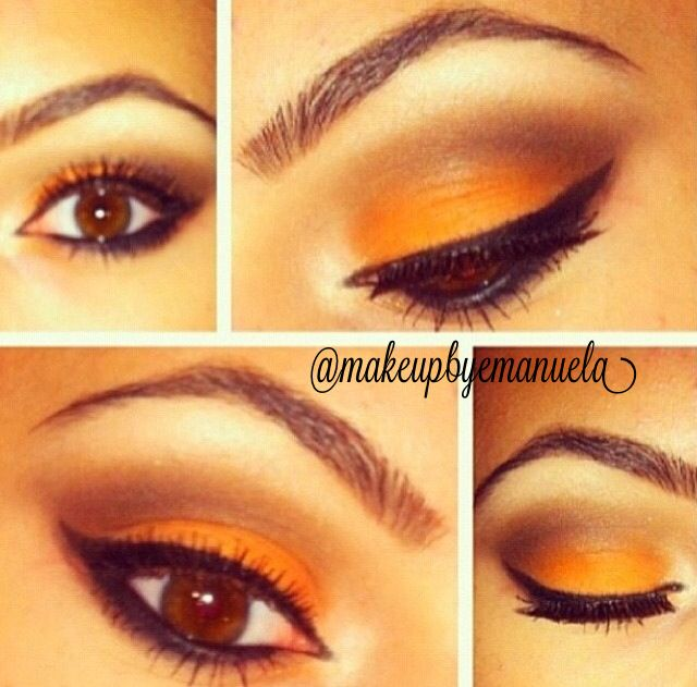 Oldie but goodie. I used Macs Rule on the lid (any orange shadow will work) and then Brown Down in the crease