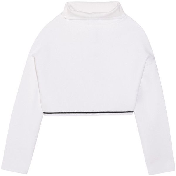 DKNY Cropped bonded cotton-blend jersey top (1.440 RON) ❤ liked on Polyvore featuring tops, white, drop-shoulder tops, collar top, cut-out crop tops, boxy crop tops and crop top
