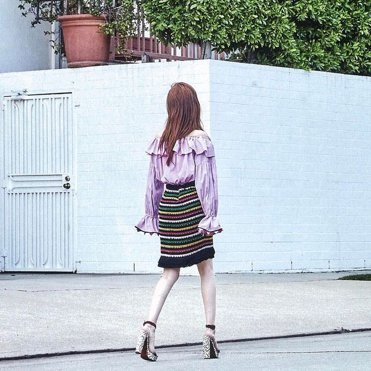 New Hippie Chic – Blugirl Spring Summer 2017 • Yoo In Na in a striped frill pink blouse a gypsy-inspired viscose skirt with appliqués and multicolored embroidery. • Marie Claire, Korea – April 2017