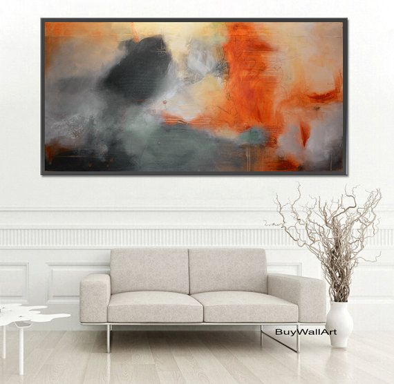Brown Abstract PaintingGray PaintingLarge art by BuyWallArt