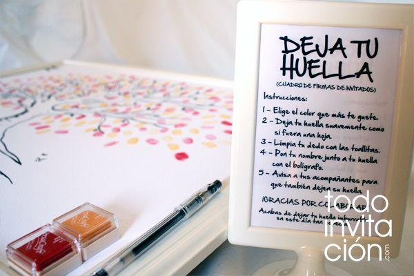 Cuadro de firmas de invitados con huellas para bodas  http://www.todoinvitacion.com/products-page/cuadros-de-firmas-con-huellas/cuadro-de-firmas-arbol-5/#