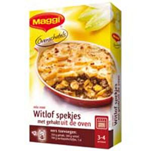 Maggi witlofschotel gehakt - zelf vind ik de smaak van witlof vaak te bitter, maar met deze ovenschotel proef je het bittere niet. Extra lekker als een teentje knoflook  door het gehakt rult. Extra groente toevoeging: champignons. Eet smakelijk!