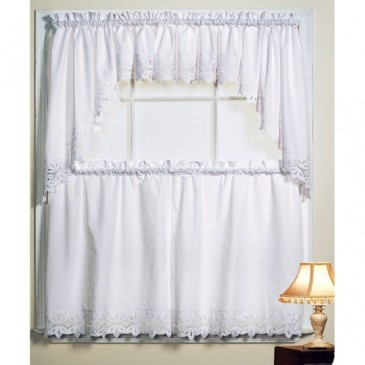 Decorate Your Kitchen With This Beautifully Woven Battenburg White Kitchen  Curtains. Coordinate Kitchen Tiers With