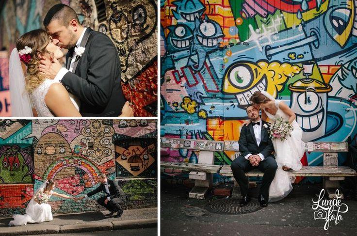 Urban city wedding photos with street art
