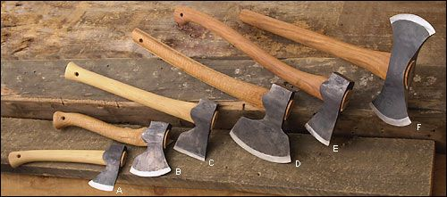 """Gränsfors Axes from Sweden - Woodworking ( E. Forest Axe The traditional forest axe is perfect for limbing felled trees. Designed mainly for green wood, it has a thin 3-1/2"""" face, a 25-1/4"""" handle and a 2 lb head. $139"""