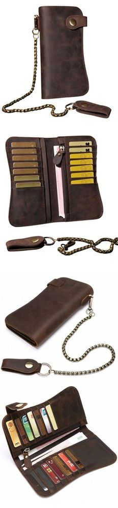 Image of Men's Crazy Horse Leather Hasp Long Wallet With Chain R8