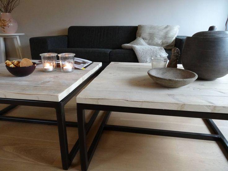 PURE salontafel steigerhout/stalen onderstel open