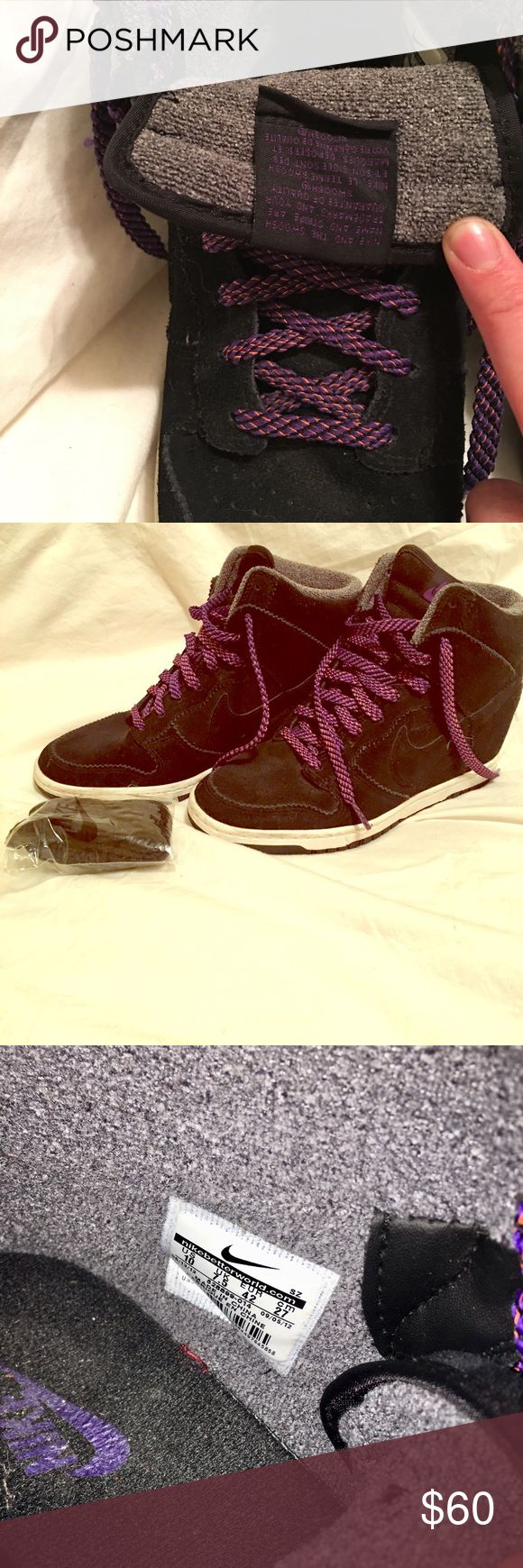 Nike Women's Wedge Sneaker Black suede/grey lining with purple laces. Spare set of black laces included, never used. Worn less than 5 times, and never in rain/wet weather. Nike Shoes Athletic Shoes