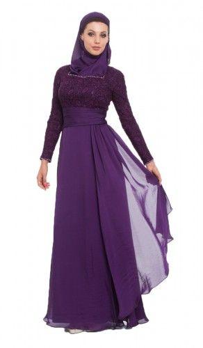 Azza Purple Islamic Formal Long Dress with Hijab   kaftans, maxi dresses and long sleeve dresses for women   Islamic Dresses at Artizara.com