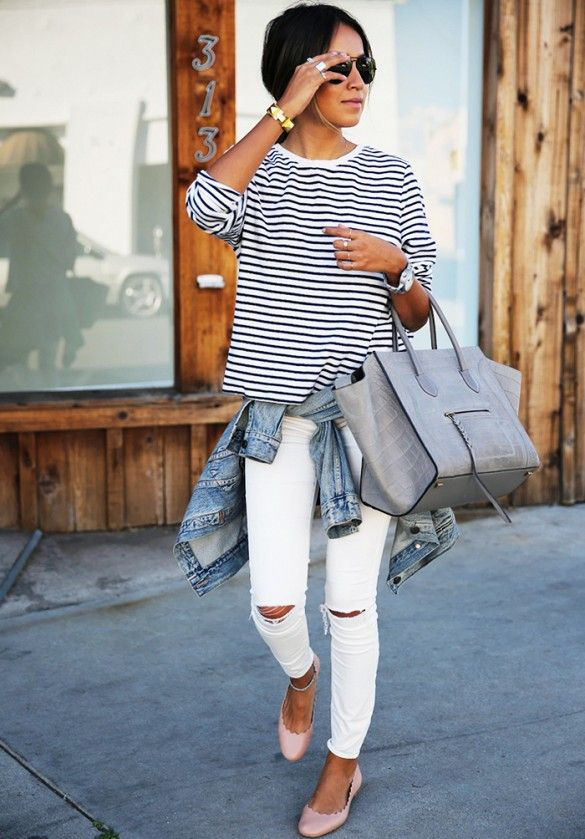 Sincerely Jules striped shirt white jeans street style