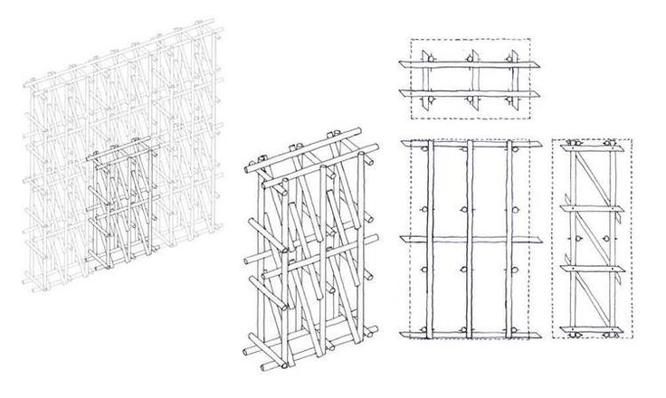 Hemp stalk frame in hemp lime wall, innovation for building with hemp. This is designed to be constructed on site, a lattice work of hemp st...