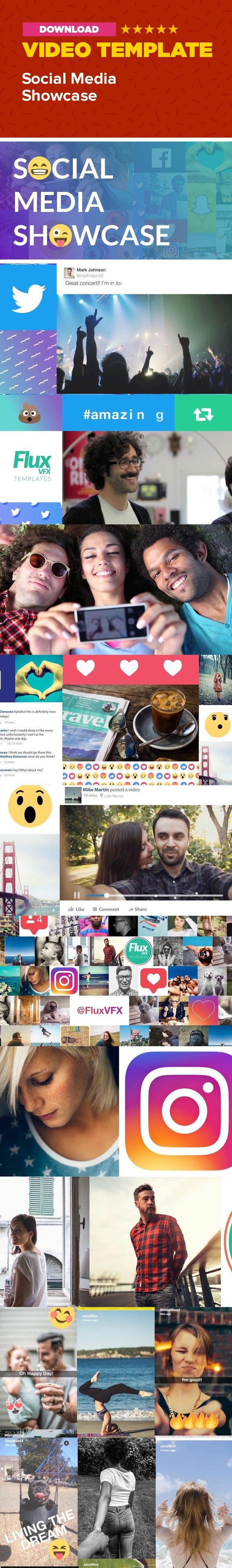 facebook, follow, grid, instagram, intro, montage, opener, showcase, slideshow, snapchat, social media, twitter, video Social Media Showcase After Effects Template      Use the Social Media Showcase to invite customers, viewers, and friends to follow your social media accounts!  The modular project file lets you re-arrange the social media scenes- Facebook, Twitter, Snapchat and Instagram. Everything can be edited.  Use the last full screen animations to show your user name for each…
