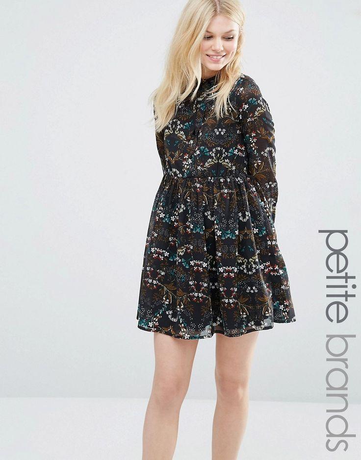 Image 1 ofYumi Petite Midi Dress With Pussybow