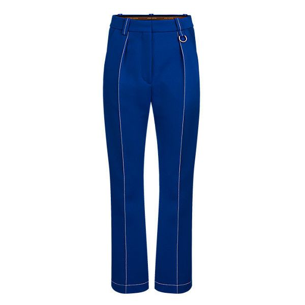 FLARED LOW CROTCH PANTS ($1,160) ❤ liked on Polyvore featuring pants, flared leg pants, pocket pants, blue trousers, drop-crotch pants and blue crop pants