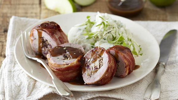 Bacon-Wrapped Pork Fillets with Apple Stuffing