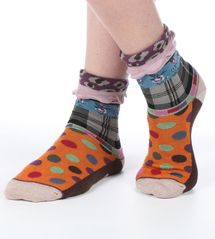 Mix women's cotton turn-over crew socks. Designed in France by Dub & Drino