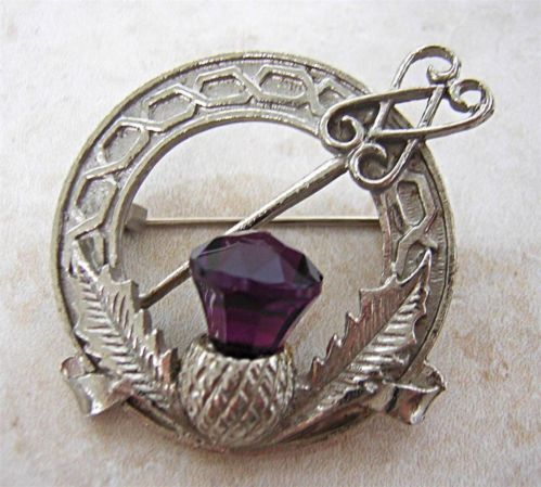 Scotland Vintage Celtic Thistle Brooch Pin Kilt Pin Amethyst Glass Top | eBay