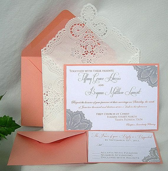 Coral N White Linen Doily Lace Wedding Invitation W Doily Lace Envelope Shabby  Chic Custom Any