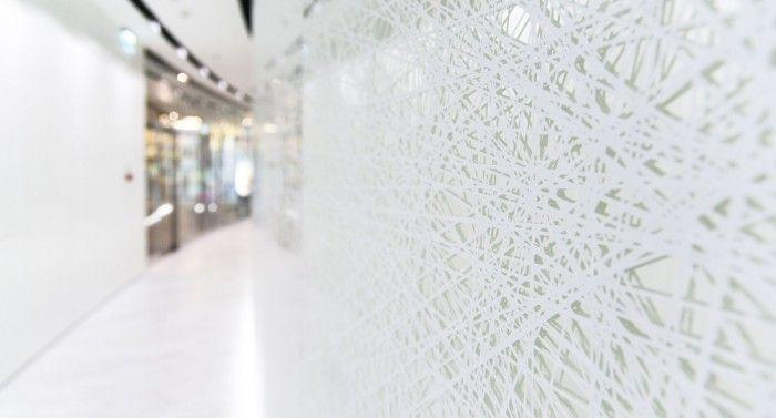 Design of the interior for public toilets and corridors in SC Złote Tarasy, stage 01. #geometric #minimal #zlotetarasy #architecture #design #interiors #art #light #plants #white #mirror #corridor