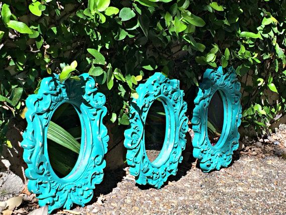 #greenwallmirrors Vintage (circa 1980s) Green, Shabby Chic Mirrors, Vintage Oval Wall Mirrors Green on Etsy, $64.99