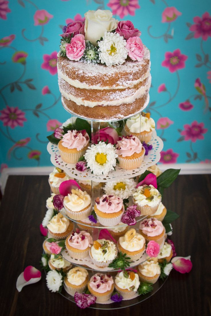 6 Naked Wedding Cake Ideas | Unfrosted and pared-down, naked wedding cakes expose layers of sumptuous sponge | Cupcakes provide an easy and fun alternative to a wedding cake | For more inspiration visit www.weddingsite.co.uk
