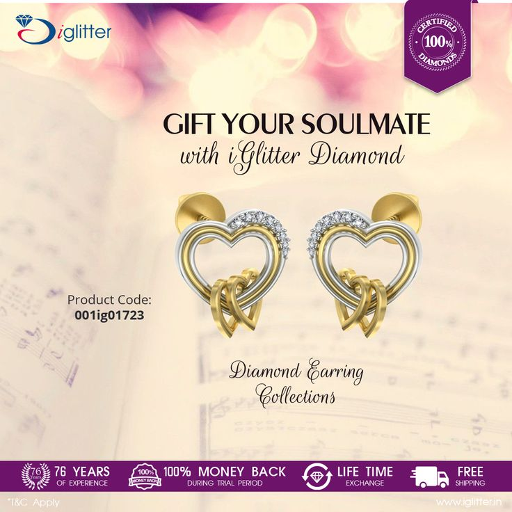 Gift your SOULMATE with IGlitter Diamond ♥♥ Shop Now : http://bit.ly/1F0Pr7m  #iGlitterindia #Earrings #Jewellery