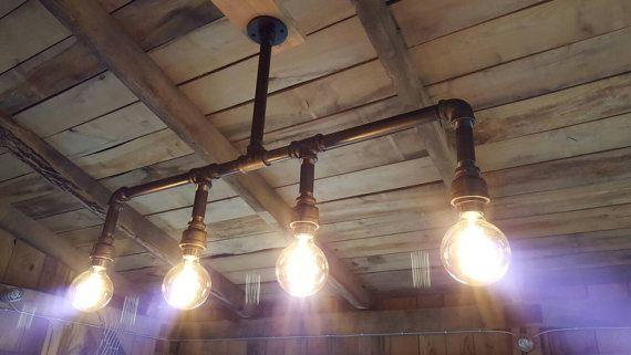 Industrial Lighting Rustic Kitchen Island by FarmsteadIronworks