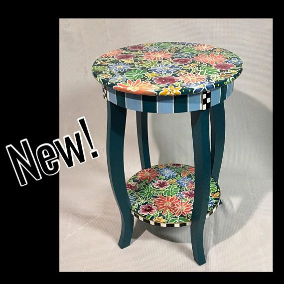 Painted Table Painted Furniture Whimsical Painted Furniture Hand Painted Table Round Accent En Hand Painted Table Painted Table Whimsical Painted Furniture