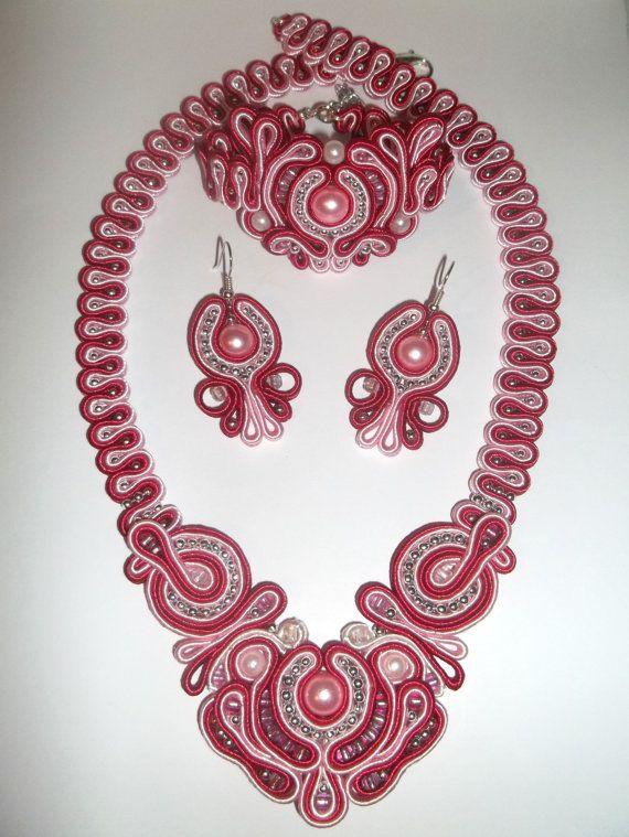 OOAK Soutache Jewelry Set Of Earrings  Bracelet by GalinaHandmade