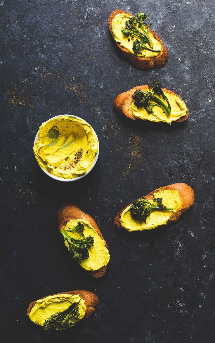 Roasted Broccoli and Turmeric Goat Cheese Crostini {vegetarian appetizer}
