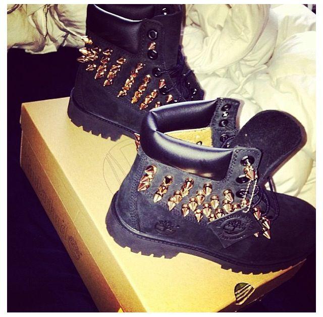 spiked timberland heels black