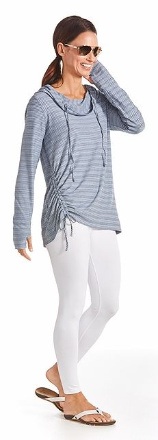 This is our new Cowl Neck Pullover with stripes that you'll love! It comes in both blue and white and black and white and it's all sun protective. If you are sun sensitive and looking for UPF 50+ clothing, look no further.