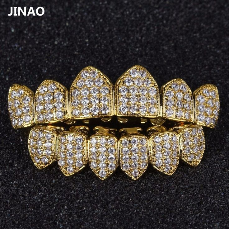 JINAO Hip Hop Grills Pure Gold Color Plated High Quality Tooth Grill Micro Pave CZ Top & Bottom GRILLZ Mouth Teeth Grills Sets #Affiliate