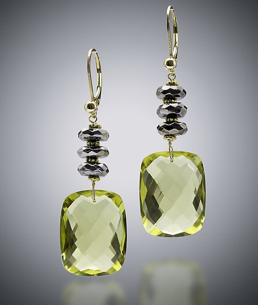 """""""Yellow Quartz Earrings"""". Gold & Stone Earrings. Created by Judy Bliss. These yellow quartz faceted earrings include hematite and 14k gold filled ear wires."""